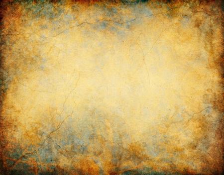 緑青のような色、亀裂、黄金の茶色と黄色の紙の模様とビンテージ グランジ背景。
