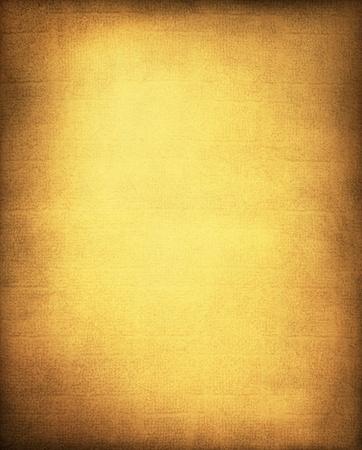 Een vintage, gestructureerde goudgeel papier en doek achtergrond met een subtiel schermpatroon en vignet.