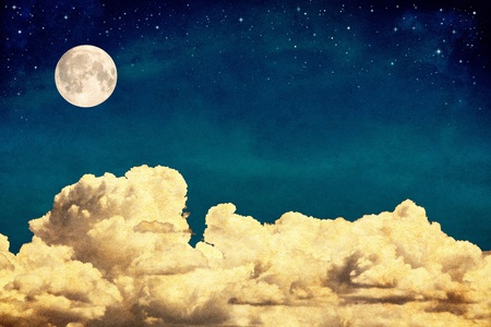 A fantasy cloudscape with stars and a full moon overlaid with a vintage, textured watercolor paper background. photo
