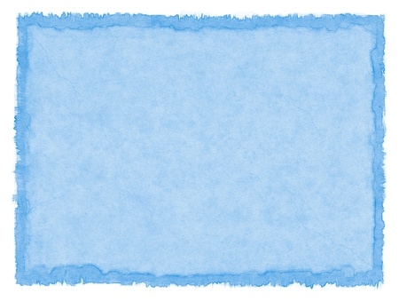 textured paper: Pastel blue paper with a water-stained border. Stock Photo