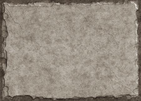 Oud papier gemaakt om te kijken als een stenen tablet met een drie-dimensionale look en subtiele crack lijnen. Stockfoto