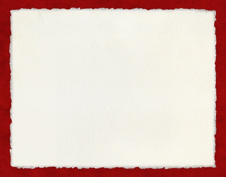frayed: Watercolor paper with true deckled edges on a red background.  File includes a clipping path.