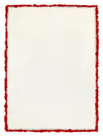 tattered: A white paper background with deckled edges over a deckled red watercolor border. Stock Photo