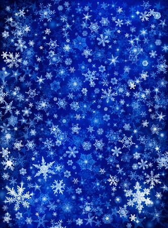 Snowflakes and stars on a blue paper background. Stock Photo - 10032649