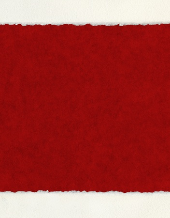 A textured red background with deckled watercolor paper borders.