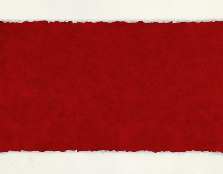 A textured red background with deckled watercolor paper borders. photo