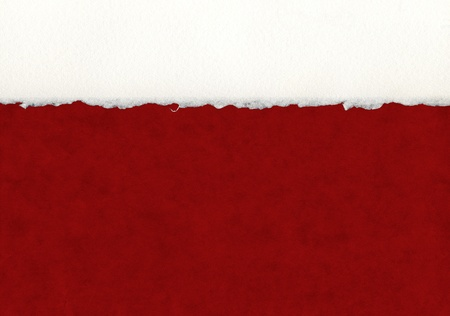deckled: A section of deckled edge paper on a red background.