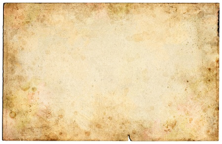 mottled: Old mottled paper with grungy stains.