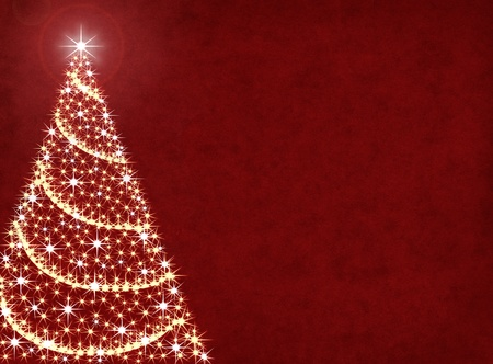 twinkles: A Christmas tree illustration on a textured red background. Stock Photo