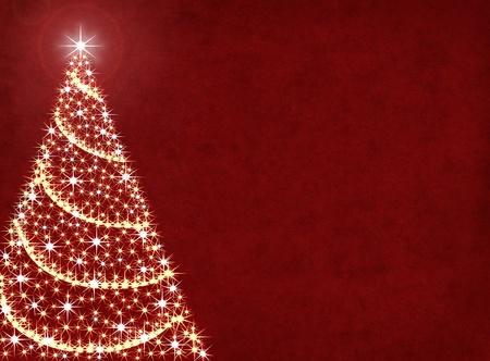 Een kerstboom illustratie op een gestructureerde rode achtergrond. Stockfoto