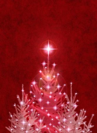 Alberi di Natale su uno sfondo con texture rosso. Archivio Fotografico - 10032635