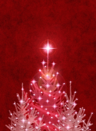 star light: Christmas trees on a textured red background. Stock Photo