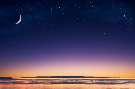 purple stars: A crescent moon and stars over an island in the Pacific ocean just after sunset.
