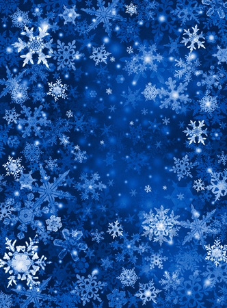 flakes: White and blue snowflakes on a dark paper background.