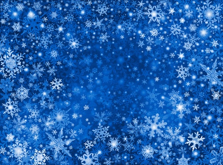 blizzard: White and blue snowflakes on a dark paper background.