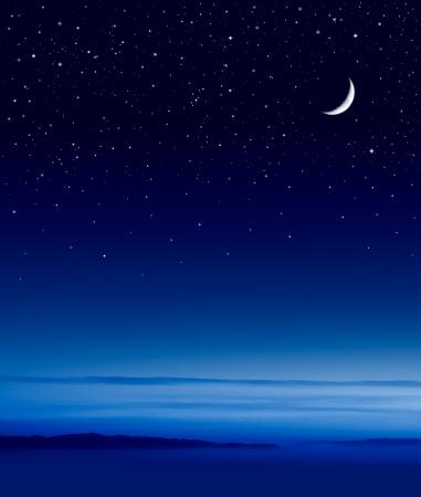 night sky: Mặt trăng và các ngôi sao trên kênh Santa Barbara.