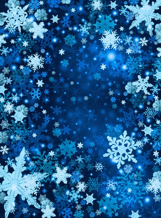 Light and dark blue snowflakes on a paper background.