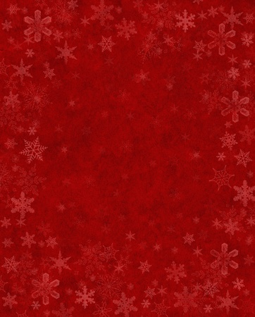 Subtly rendered snowflakes on a textured red background.