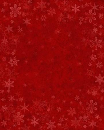 Subtiel weergegeven sneeuwvlokken op een gestructureerde rode achtergrond. Stockfoto