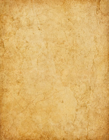 yellowed: Old vintage card stock paper with stains and cracks.