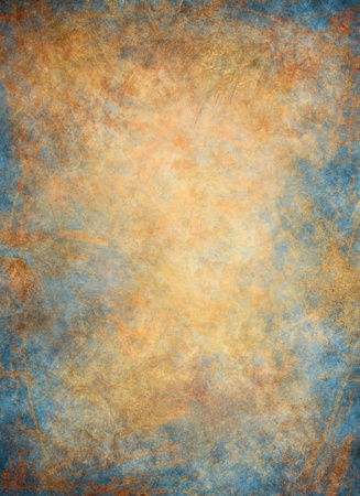 A paper background with blue and golden textures. Banque d'images