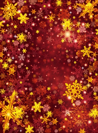 holiday background: Gold and red snowflakes on a dark paper background. Stock Photo