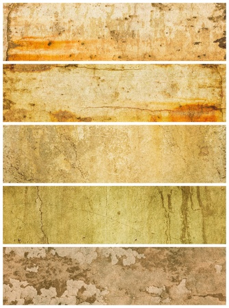 varying: A group of five grunge panels with varying textures and colors. Stock Photo