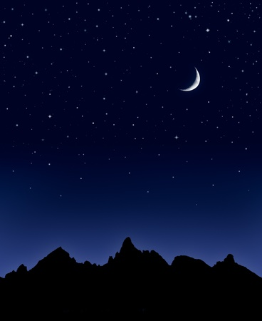 A mountain range silhouetted by a star-filled night sky and a crescent moon.