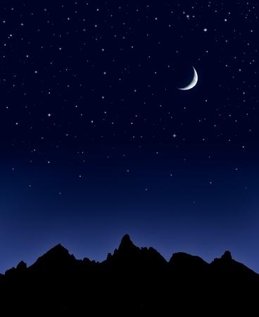 noche y luna: Una cordillera siluetas por un cielo lleno de estrellas y una luna.