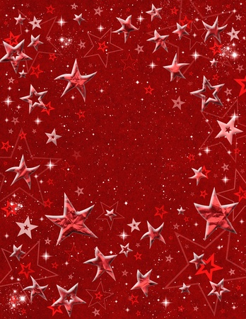 new years eve party: Embossed star shapes and starfield on a red paper background.