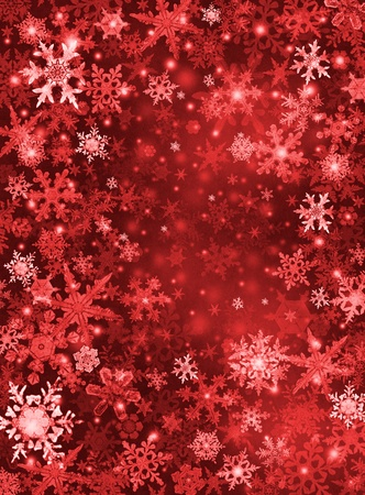 Red and white snowflakes on a dark paper background. Stock Photo