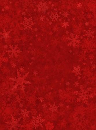 Subtiele sneeuwvlokken op een donkere rood papier achtergrond.