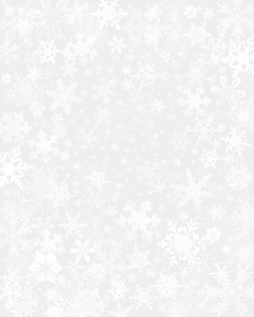Subtle snow flakes on a light gray background. Stock Photo
