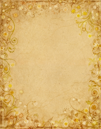 Old grungy paper with a floral border design. photo