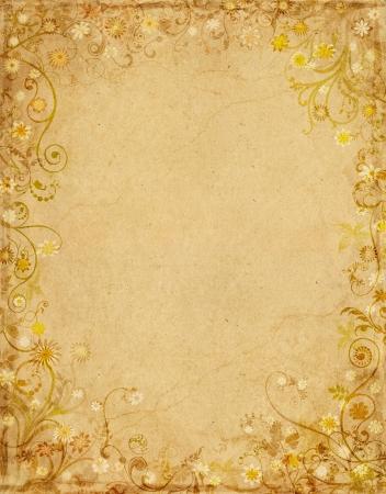 grens: Oude grungy papier met een florale rand. Stockfoto