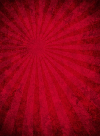 A dark red paper background with mottled grunge patterns and a subtle light beam effect.