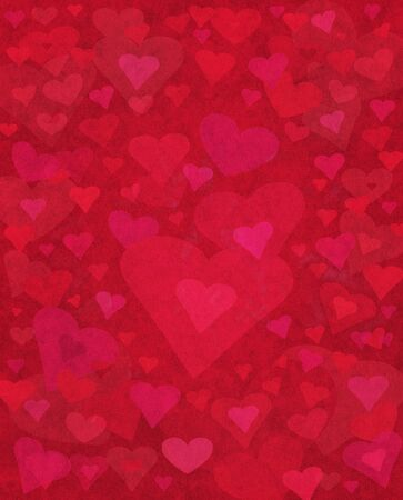 old fashioned: Heart shapes on a red extured paper background. Stock Photo