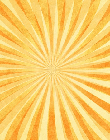radial: A layered sunbeam pattern on yellow vintage paper.