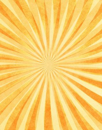 Een gelaagde zonnestraal patroon op geel vintage papier.