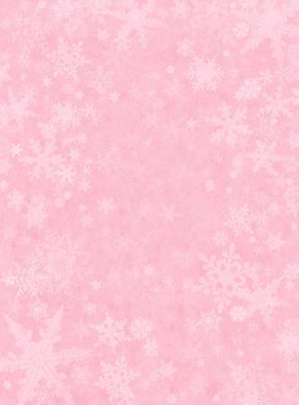光のピンクの紙の背景の雪。