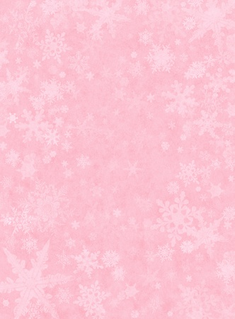 Snowflakes on a light pink paper background.