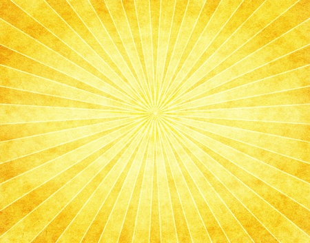 A bright yellow sunbeam pattern on vintage paper. Stock Photo
