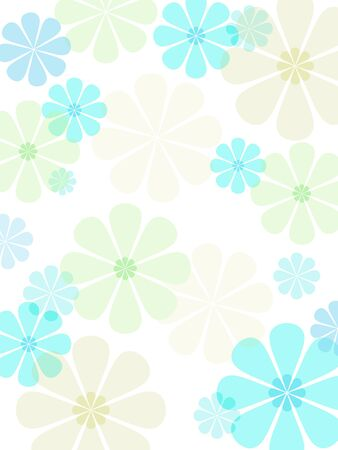 turquoise background: A flower illustration with pastel colorations.