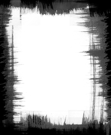 A black brush-stroke frame with jagged edges.