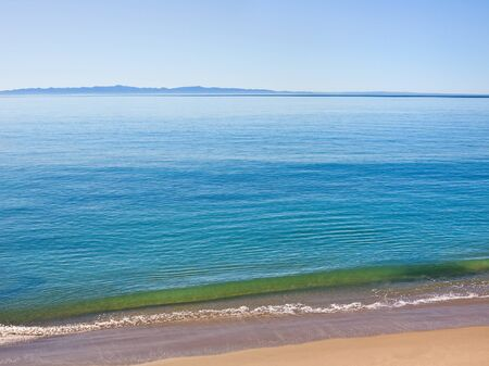 The Santa Barbara channel along Butterfly Beach with Santa Cruz Island in the background. Stock Photo - 10265000