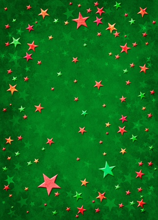 3D star shapes on a textured green background. photo