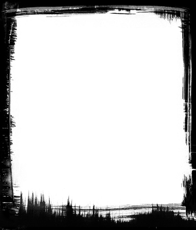 brushstrokes: Black brushstrokes form a graphic frame around a white background. Stock Photo