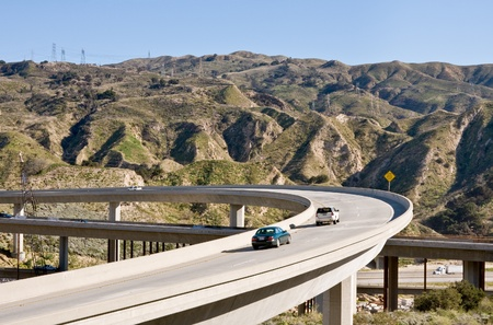 interstate: A freeway overpass bridge in southern California.
