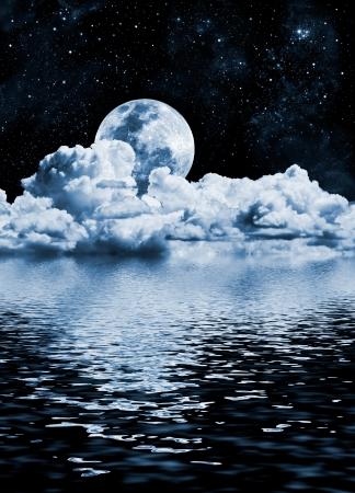 moon and stars: The moon setting over clouds and water with reflections. Stock Photo