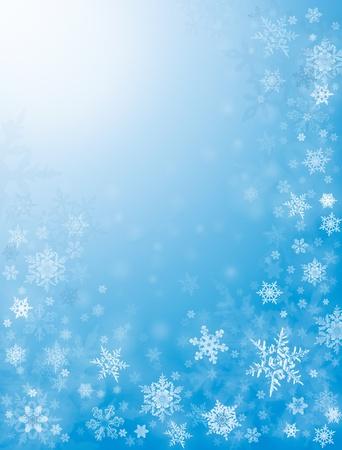 織り目加工の青色の背景にシャープと拡散反射光の雪片。